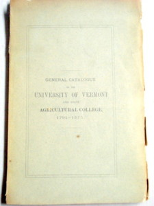 General Catalogue The University of Vermont 1791-1875