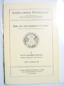 War and Interests of Labor WWI Book 1914 World War I