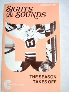 Hartford Civic Center Nov 1984 Program Harford Whalers