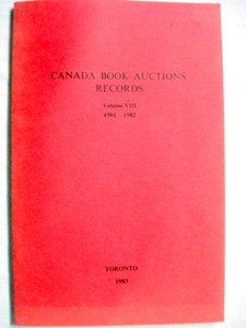 Canada Book Auction Records Vol VIII 1981-1982