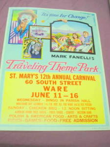 Vintage Colorful St. Mary's Carnival Poster Ware, Mass.