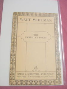 1926 Pamphlet Poets Softcover Booklet Walt Whitman