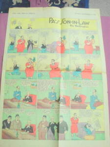 1938 Original Comic Strip Pa's Son-In-Law by Wellington