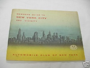 1954 AAA Members Guide To New York City and Vicinity