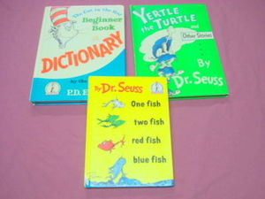 3 Dr. Seuss HC Yertle the Turtle, One Fish, Dictionary