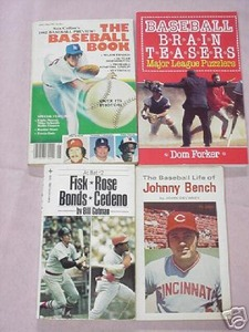 4 Baseball 1970/80s Paperbacks Johnny Bench Barry Bonds