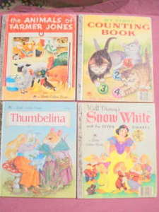 4 Little Golden Books-Snow White, Thumbelina, Counting