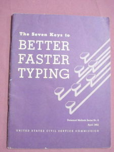 7 Keys To Better Faster Typing 1962 Softcover