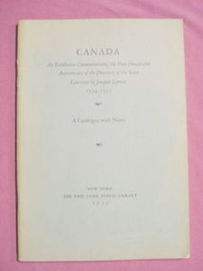 Canada Exhibition Catalog New York Public Library 1935