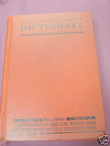 Cross Word Puzzle Dictionary 1952 Hardcover