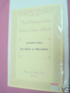 Fred Rullman Series Opera Booklet Un Ballo in Maschera