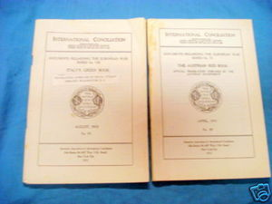 International Conciliation WWI Books Austria & Italy