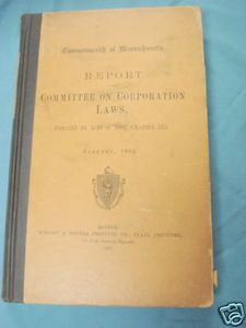 Massachusetts Report Committee on Corporation Laws 1903