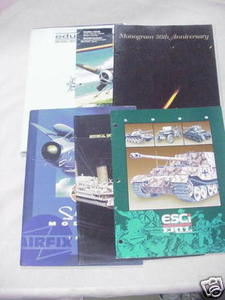 Seven 1990's Model Catalogs Monogram, Airfix, Eduard