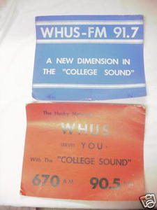 Two Cardboard 1960's WHUS Radio Posters UCONN