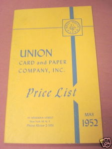Union Card and Paper Company, Inc. May, 1952 Price List